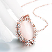 Load image into Gallery viewer, Elegant and Personalized Plated Rose Gold Geometric Pendant with Chrysoberyl Cat Eye Opal and Necklace