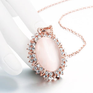 Elegant and Personalized Plated Rose Gold Geometric Pendant with Chrysoberyl Cat Eye Opal and Necklace - Glamorousky