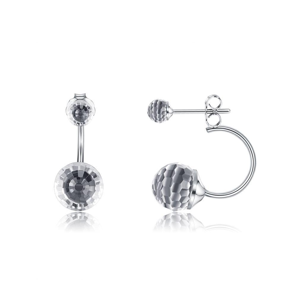 925 Sterling Silver Simple Fashion Geometric Round Earrings with White Austrian Element Crystal - Glamorousky