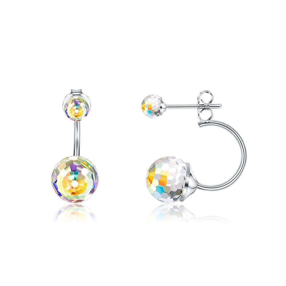 925 Sterling Silver Simple Fashion Geometric Round Earrings with Colorful Austrian Element Crystals