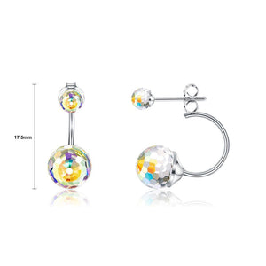925 Sterling Silver Simple Fashion Geometric Round Earrings with Colorful Austrian Element Crystals - Glamorousky