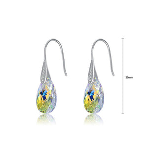 925 Sterling Silver Simple Fashion Water Drop Earrings with Colorful Austrian Element Crystals