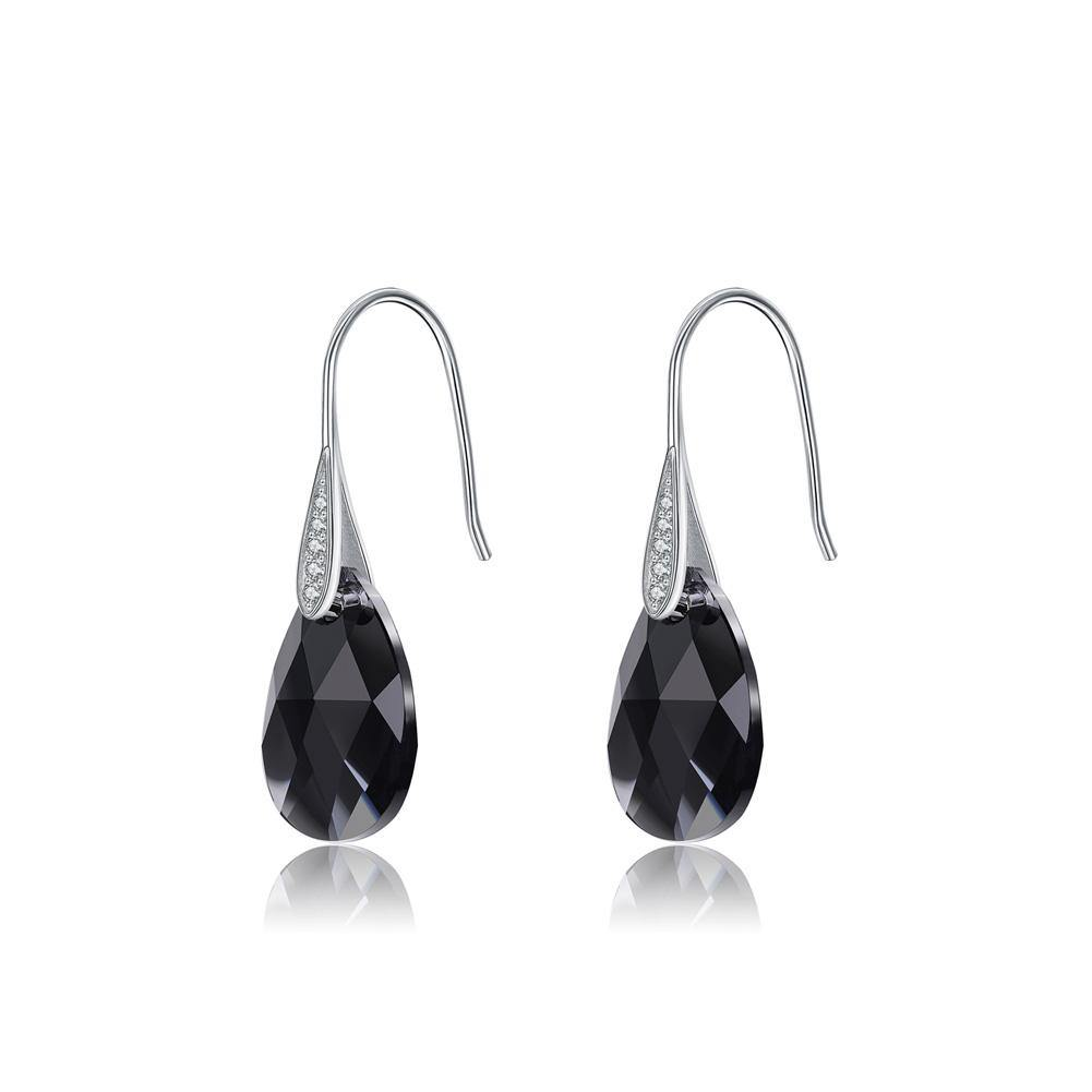 925 Sterling Silver Simple Fashion Water Drop Earrings with Black Austrian Element Crystal - Glamorousky