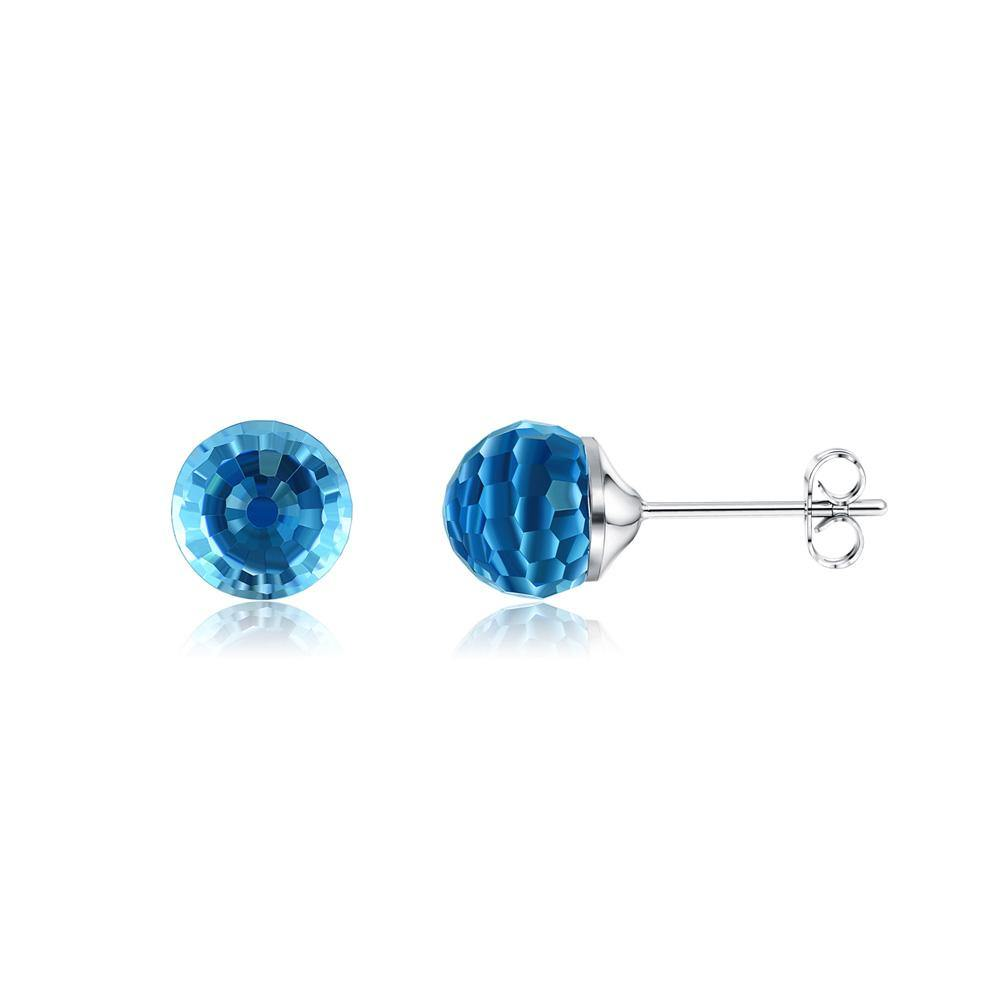 925 Sterling Silver Simple Geometric Round Stud Earrings with Blue Austrian Element Crystal - Glamorousky