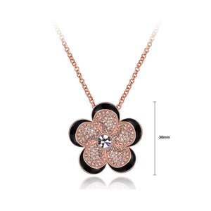 Elegant Plated Rose Gold Flower Pendant with Cubic Zircon and Necklace - Glamorousky