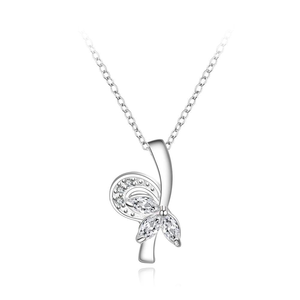 Fashion Elegant Flower Pendant with Cubic Zircon and Necklace - Glamorousky