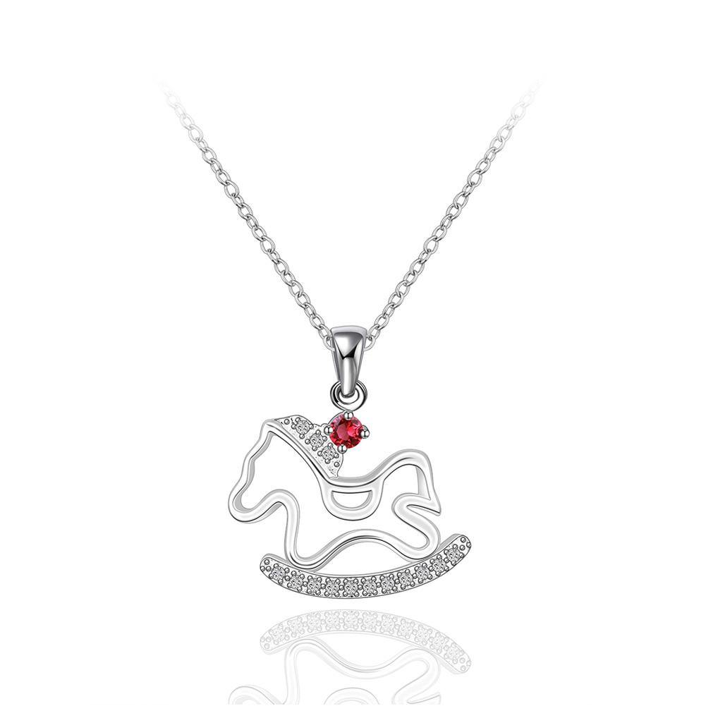 Fashion Cutout Trojan Pendant with Red Cubic Zircon and Necklace - Glamorousky
