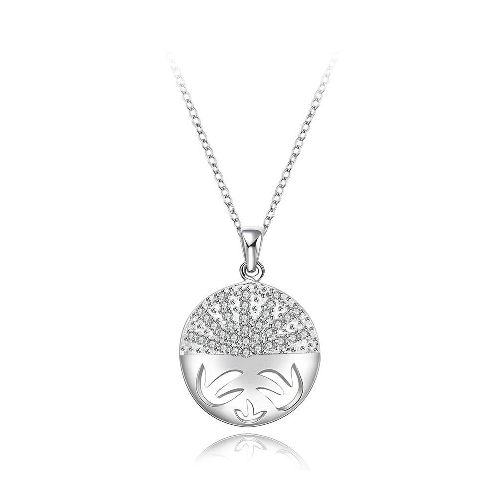 Fashion Elegant Geometric Round Pendant with Cubic Zircon and Necklace