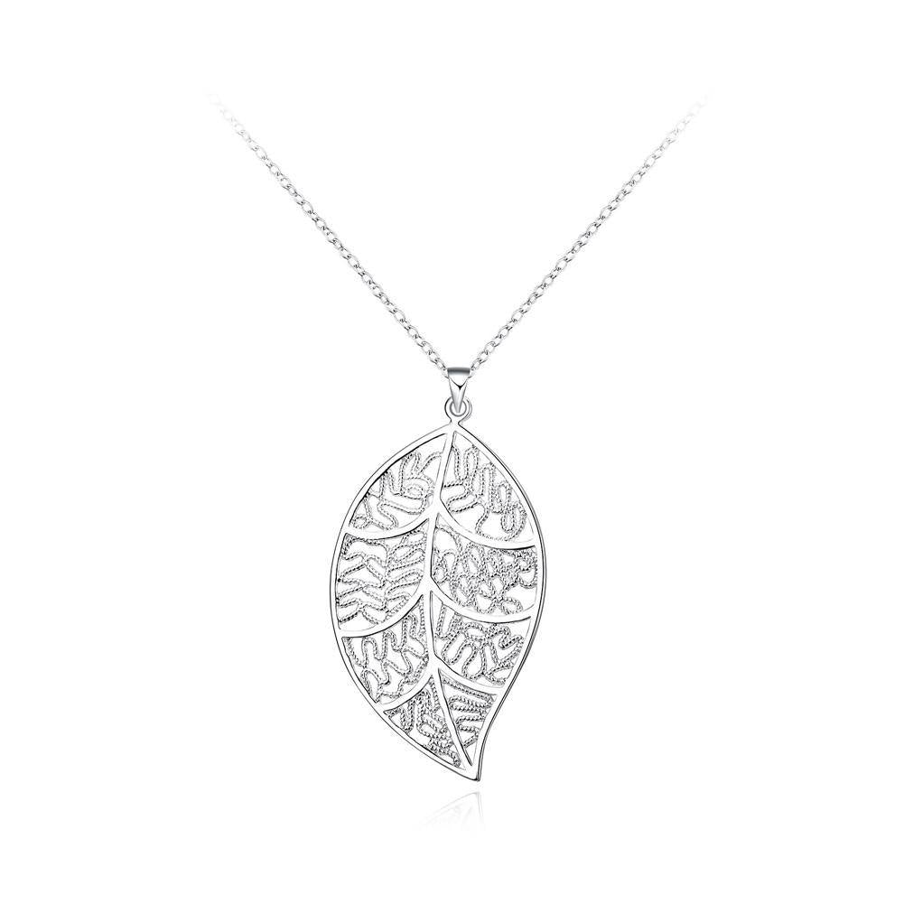 Fashion Hollow Leaf Pendant with Necklace