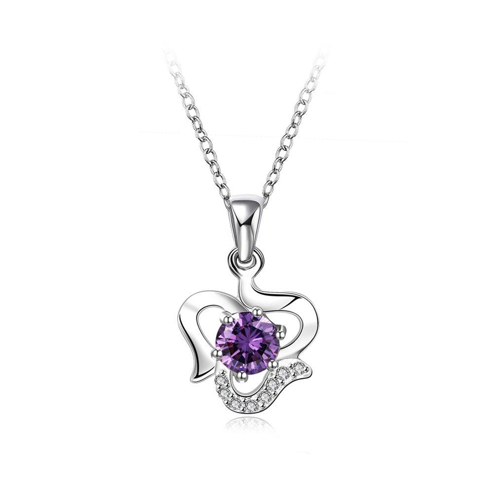 Fashion Simple Geometric Pendant with Purple Cubic Zircon and Necklace - Glamorousky
