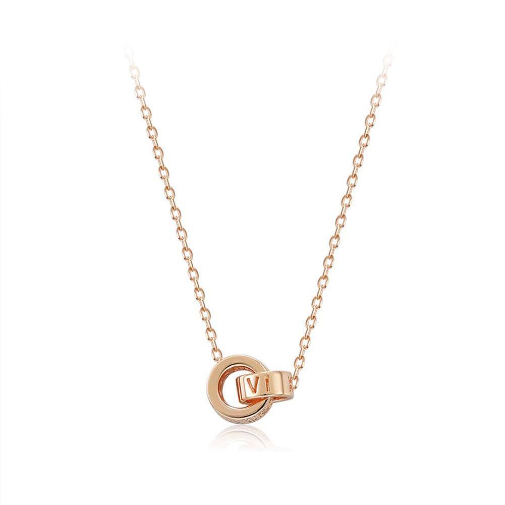 925 Sterling Silver Plated Rose Gold Fashion Simple Roman Numeral Double Round Necklace