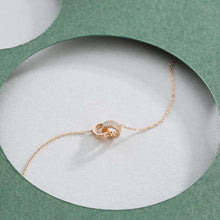 Load image into Gallery viewer, 925 Sterling Silver Plated Rose Gold Fashion Simple Roman Numeral Double Round Necklace