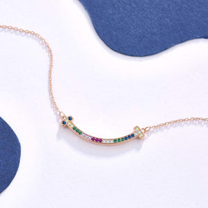 925 Sterling Silver Plated Rose Gold Simple Smile Colored Austrian Element Crystal Necklace