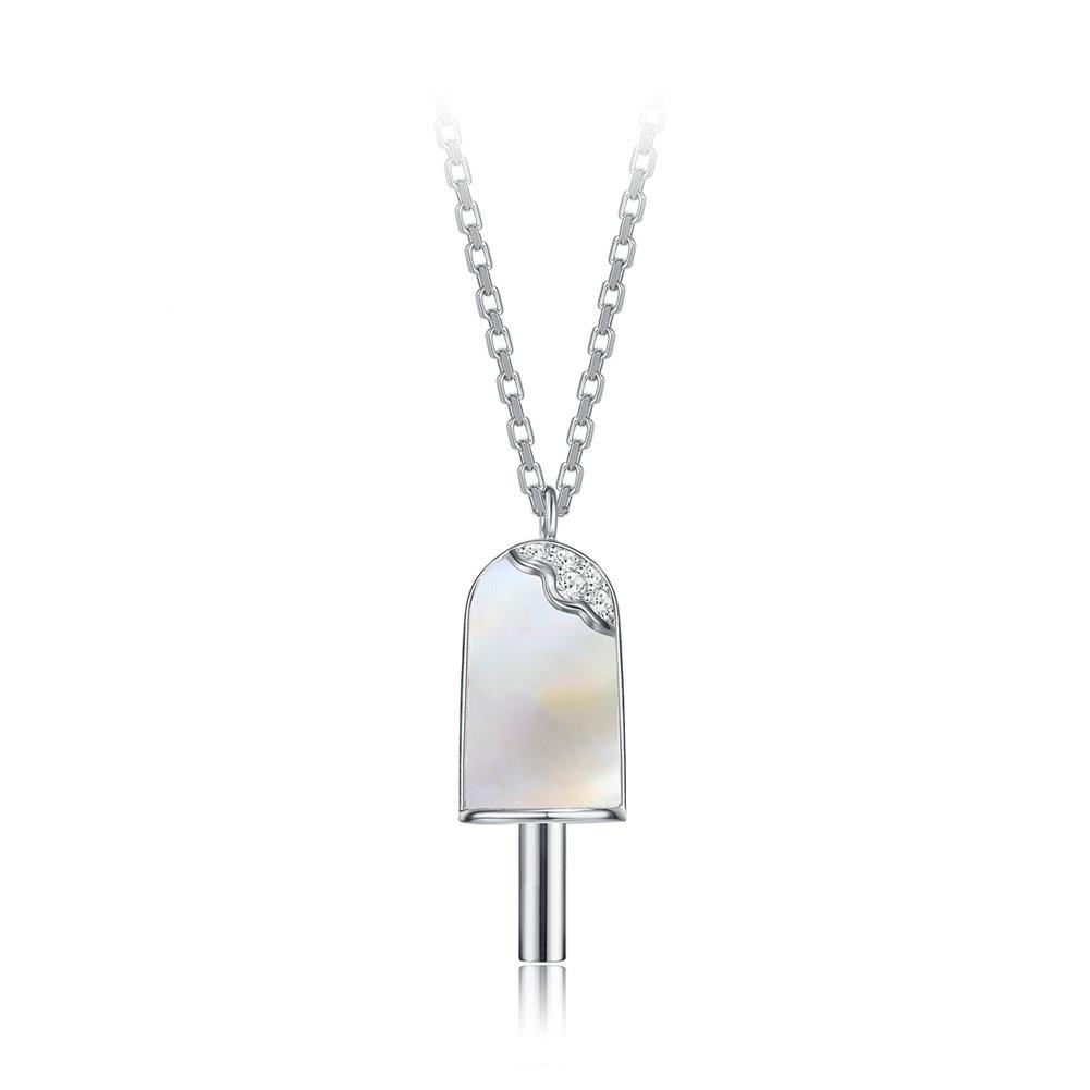 925 Sterling Silver  Creative Fashion Popsicle Pendant with Mother Of Pearl and Necklace - Glamorousky