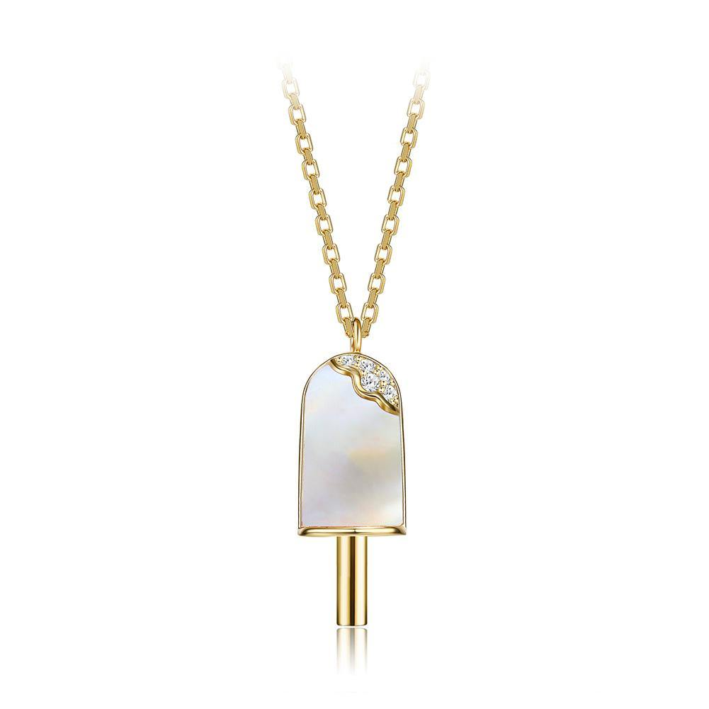 925 Sterling Silver Plated Gold Creative Fashion Popsicle Pendant with Mother Of Pearl and Necklace