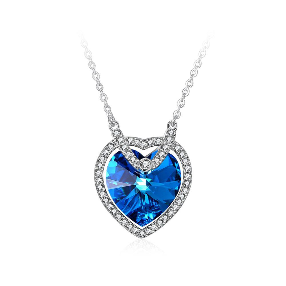925 Sterling Silver Atmospheric Heart Pendant with Blue Austrian Element Crystal and Necklace - Glamorousky