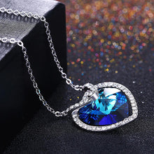 Load image into Gallery viewer, 925 Sterling Silver Atmospheric Heart Pendant with Blue Austrian Element Crystal and Necklace - Glamorousky