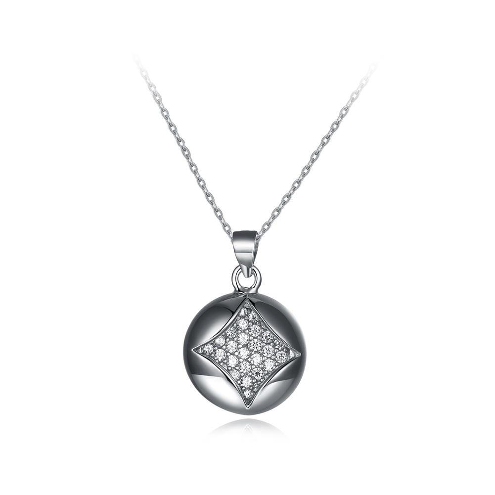 925 Sterling Silver Simple Geometric Round Pendant with Cubic Zircon and Necklace