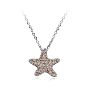 925 Sterling Silver Fashion Starfish Pendant with Champagne Cubic Zircon and Necklace - Glamorousky