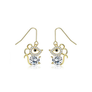 925 Sterling Silver Plated Gold Fashion Cute Little Mouse Cubic Zircon Earrings