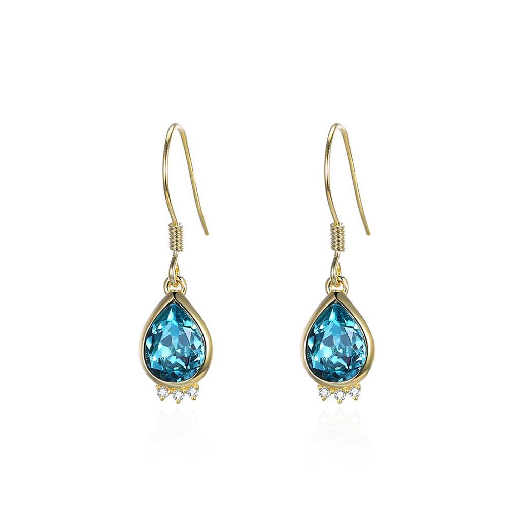 925 Sterling Silver Plated Gold Elegant Fashion Water Drop Earrings with Blue Austrian Element Crystal - Glamorousky