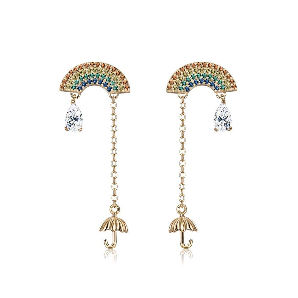 925 Sterling Silver Plated Gold Fashion Rainbow Umbrella Tassel Cubic Zircon Earrings
