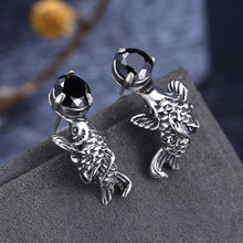 Load image into Gallery viewer, 925 Sterling Silver Fashion Carp Black Cubic Zircon Earrings - Glamorousky