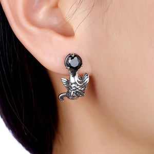 925 Sterling Silver Fashion Carp Black Cubic Zircon Earrings - Glamorousky