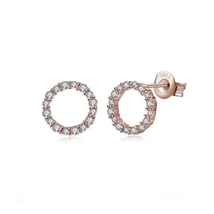 925 Sterling Silver Plated Rose Gold Simple Geometric Round Cubic Zircon Stud Earrings