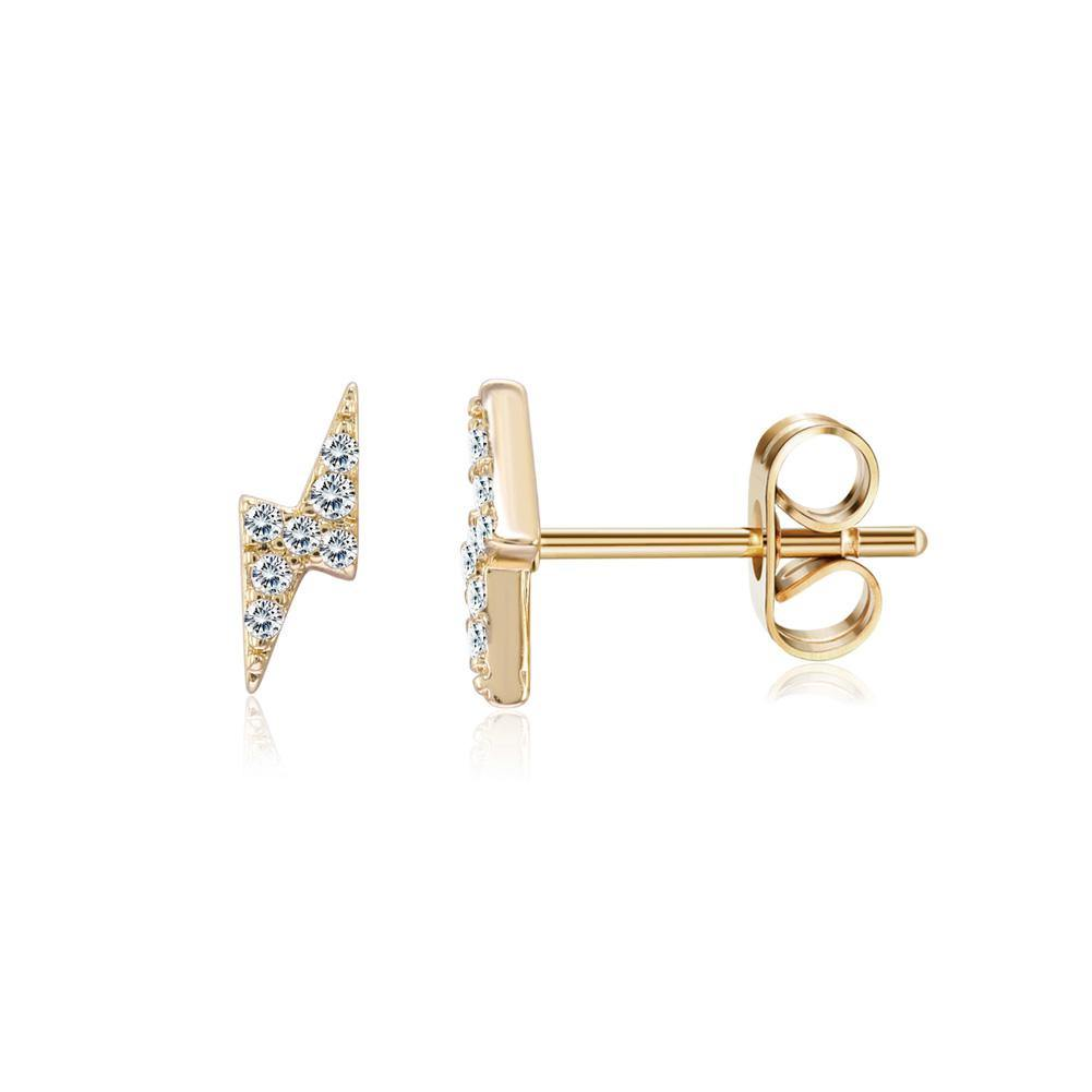 Fashion Simple Plated Gold Lightning Cubic Zircon Stud Earrings