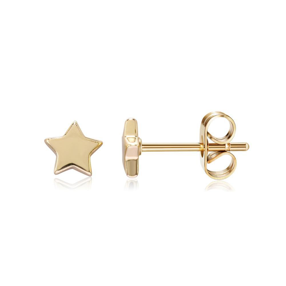 Simple Fashion Plated Gold Star Stud Earrings - Glamorousky