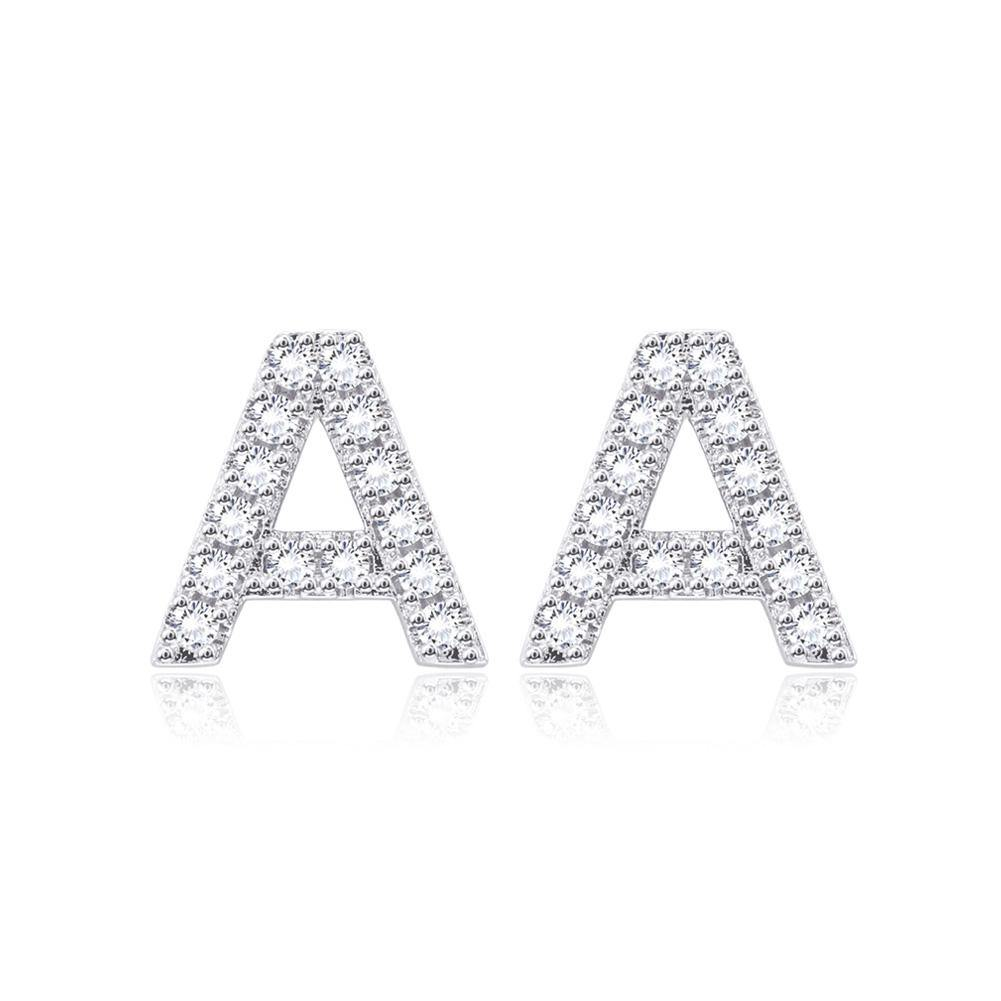 Simple Bright Letter A Cubic Zircon Stud Earrings - Glamorousky