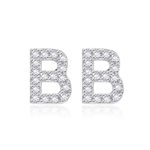Simple and Fashion Letter B Cubic Zircon Stud Earrings - Glamorousky