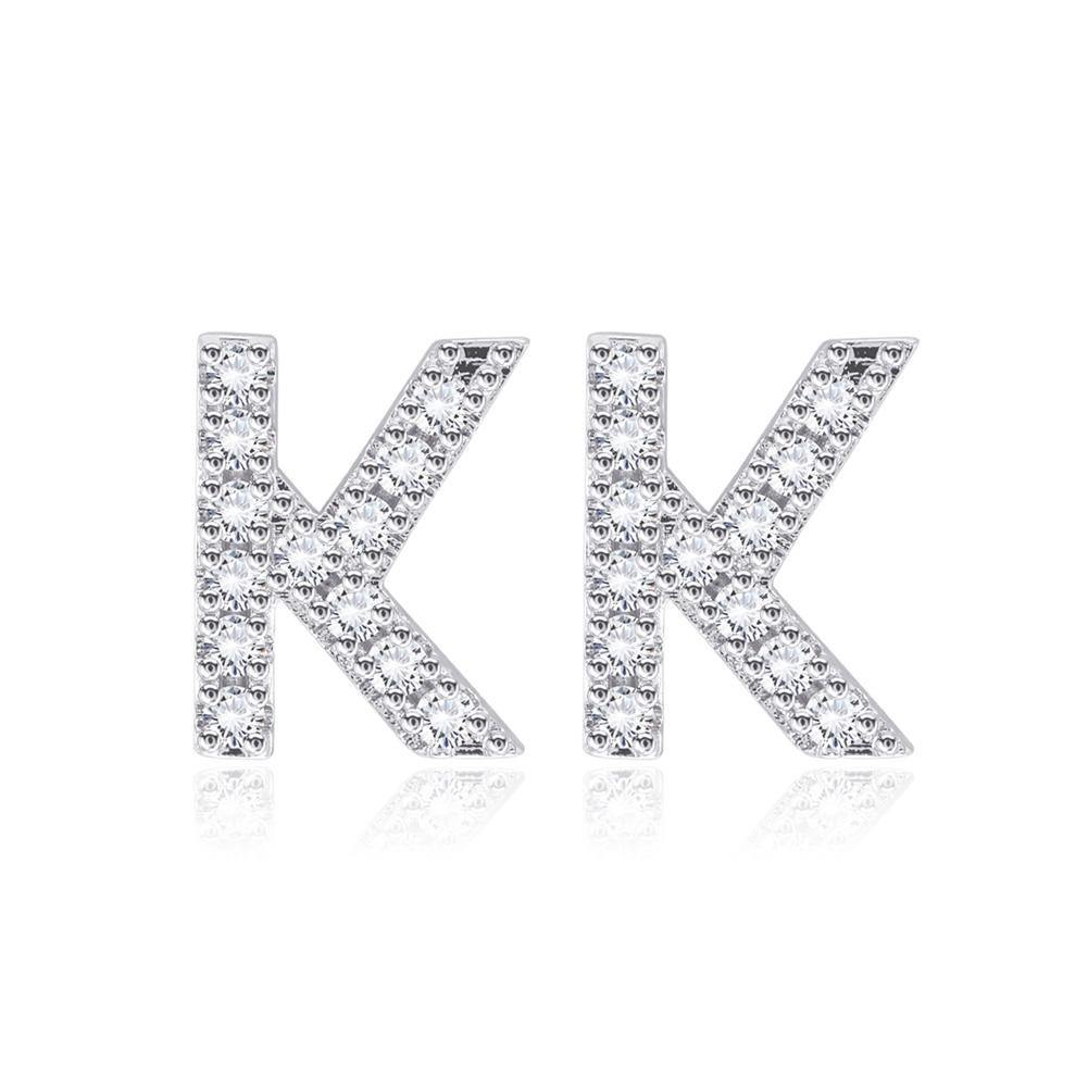Simple Fashion Letter K Cubic Zirconia Stud Earrings