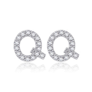 Simple and Fashion Letter Q Cubic Zircon Stud Earrings