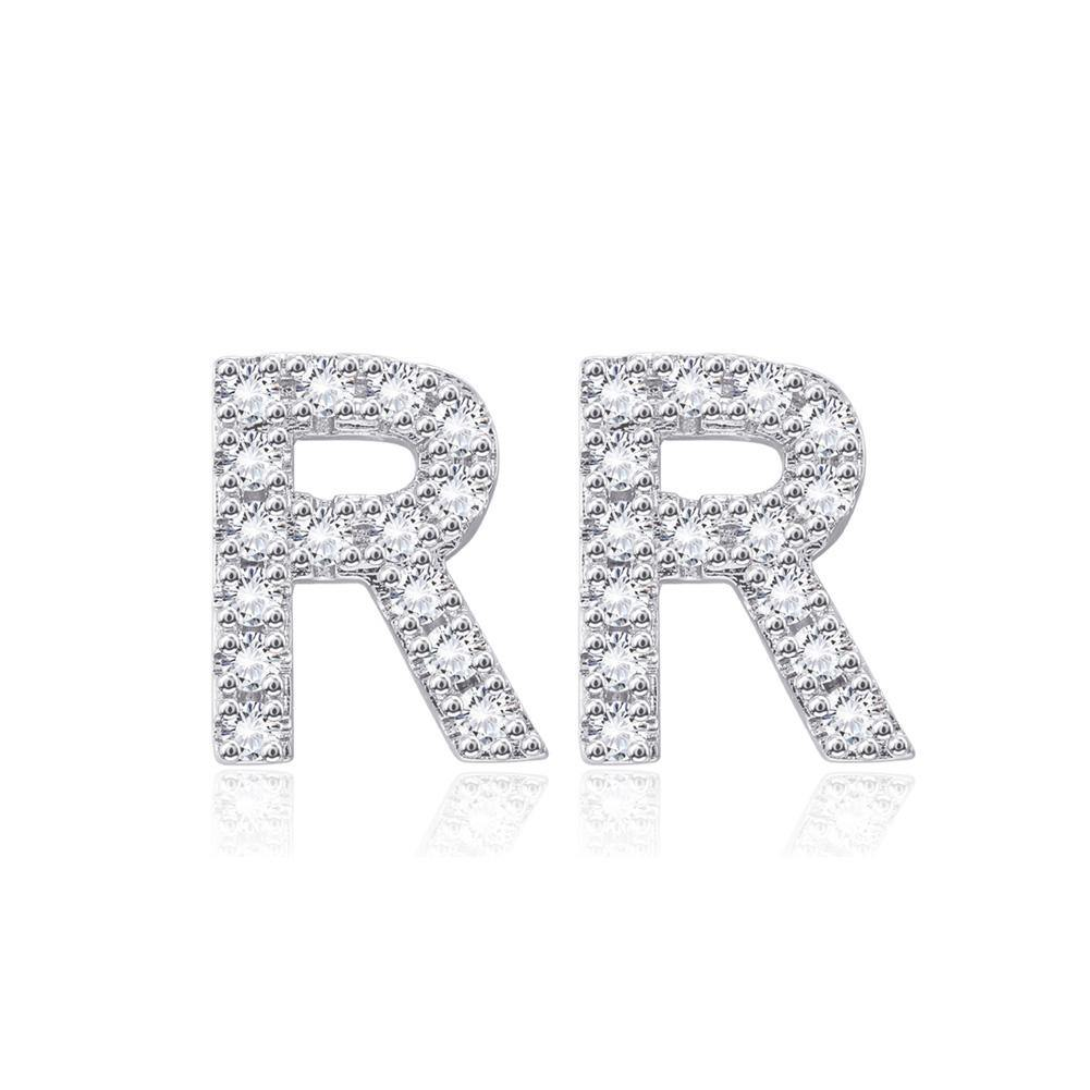 Simple and Fashion Letter R Cubic Zircon Stud Earrings