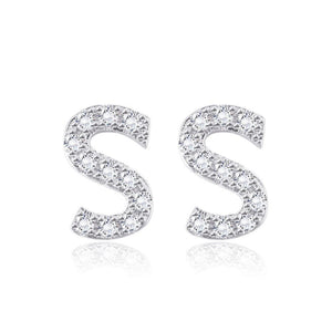 Simple and Fashion Letter S Cubic Zircon Stud Earrings
