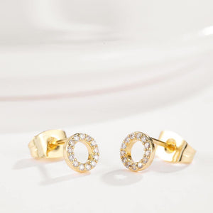 Simple Plated Gold Geometric Hollow Round Cubic Zircon Stud Earrings