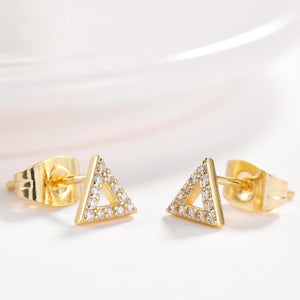 Simple Plated Gold Geometric Triangle Cubic Zircon Stud Earrings