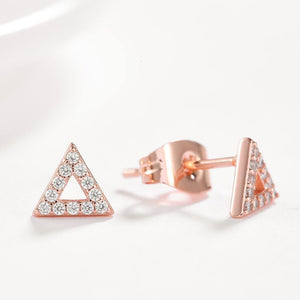 Simple Plated Rose Gold Geometric Triangular Cubic Zirconia Stud Earrings - Glamorousky