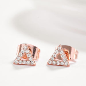 Simple Plated Rose Gold Geometric Triangular Cubic Zirconia Stud Earrings