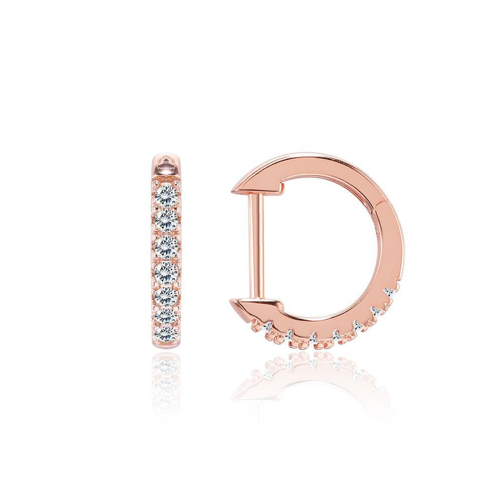 Fashion Simple Plated Rose Gold Geometric Circle Cubic Zircon Stud Earrings - Glamorousky