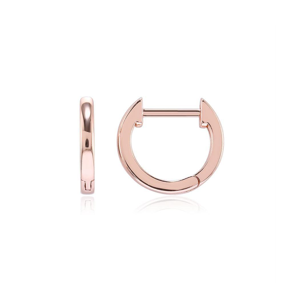Simple Fashion Plated Rose Gold Geometric Circle Stud Earrings - Glamorousky