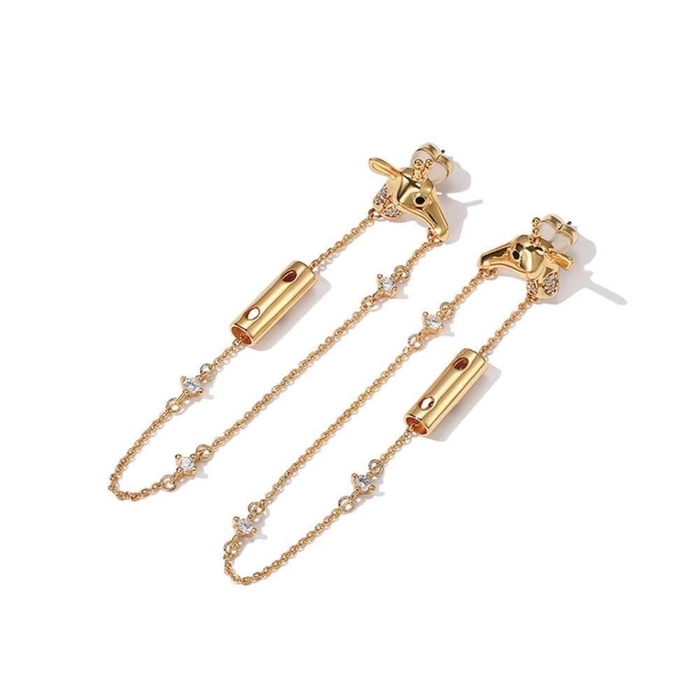 Fashion Plated Gold Giraffe Tassel Earrings with Cubic Zircon