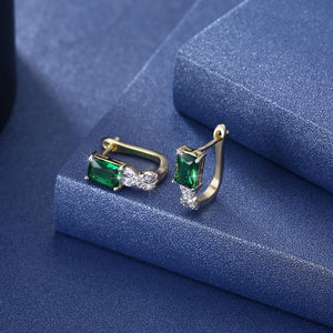 Elegant Plated Gold Geometric Earrings with Green Cubic Zircon