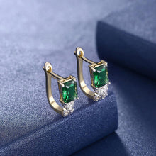 Load image into Gallery viewer, Elegant Plated Gold Geometric Earrings with Green Cubic Zircon