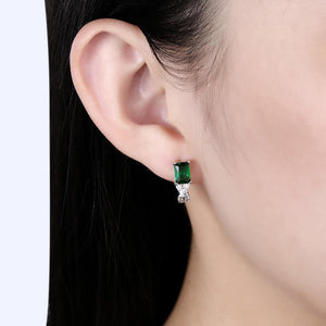 Elegant Plated Gold Geometric Earrings with Green Cubic Zircon - Glamorousky