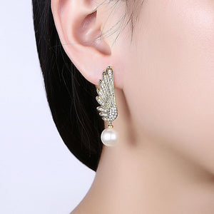Fashion and Elegant Plated Gold Wing Pearl Earrings with Cubic Zircon - Glamorousky