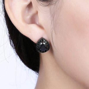 Fashion Water Drop Shaped Black Cubic Zircon Stud Earrings - Glamorousky