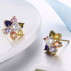 Fashion Delicate Plated Gold Flower Colored Cubic Zircon Stud Earrings
